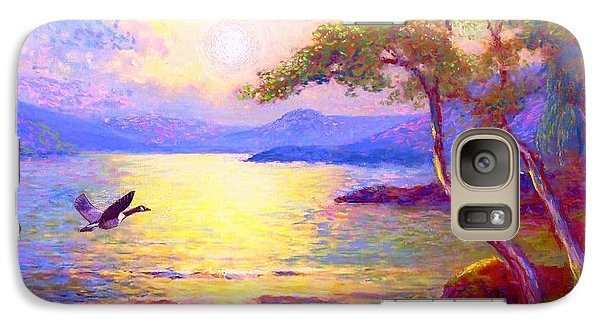 Galaxy Case featuring the painting  Wild Goose, Moon Song by Jane Small