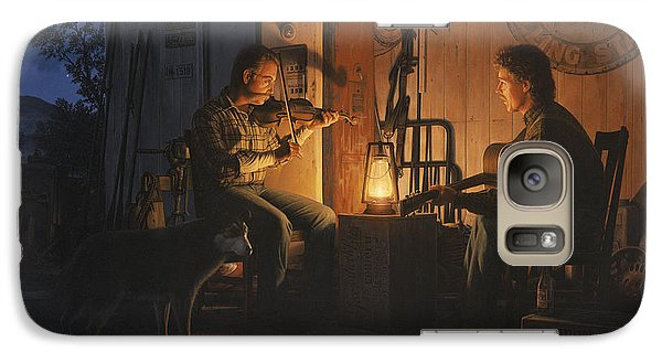 Galaxy Case featuring the painting Moonlight Musicians by Ron Crabb