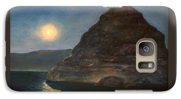 Galaxy Case featuring the painting Moonlight On Pyramid Lake by Donna Tucker