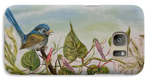 Galaxy Case featuring the painting Moonlilly Vine Has A Visitor by Susan Culver