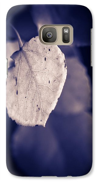 Galaxy Case featuring the photograph Moonlit Aspen Leaf by Dave Garner