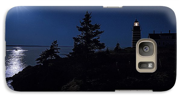 Galaxy Case featuring the photograph Moonlit Panorama West Quoddy Head Lighthouse by Marty Saccone