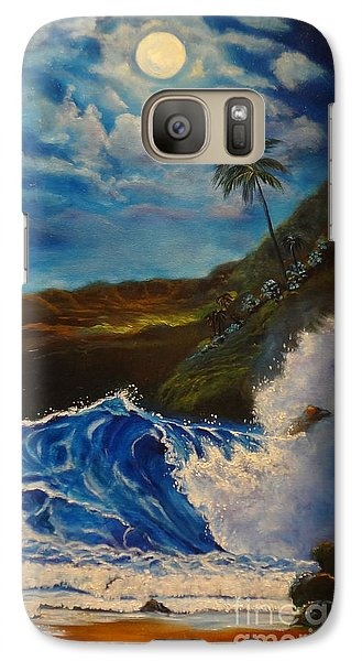Galaxy Case featuring the painting Moonlit Wave 11 by Jenny Lee