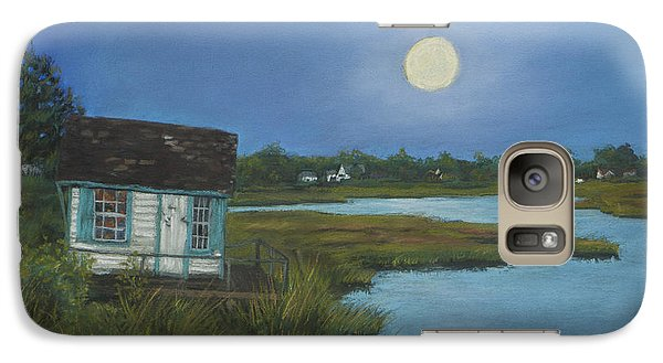 Galaxy Case featuring the painting Moonrise Orient Point by Susan Herbst