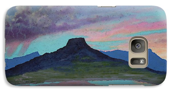 Galaxy Case featuring the painting Moonrise With Thunderstorm Over Abiquiu Lake And Pedernal Mountain by Anastasia Savage Ealy