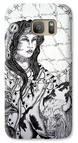 Galaxy Case featuring the drawing Moonstruck Feather Woman by Kicking Bear  Productions