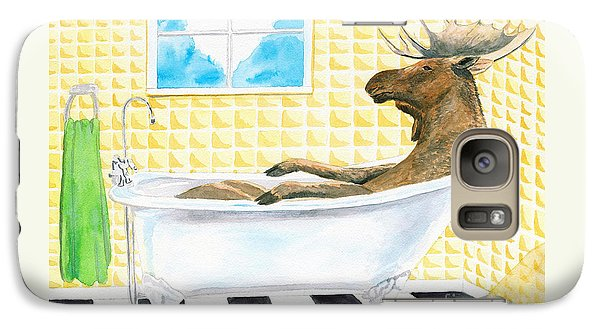Galaxy Case featuring the painting Moose Bath by LeAnne Sowa