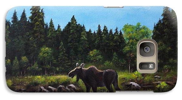 Galaxy Case featuring the painting Moose by Bozena Zajaczkowska
