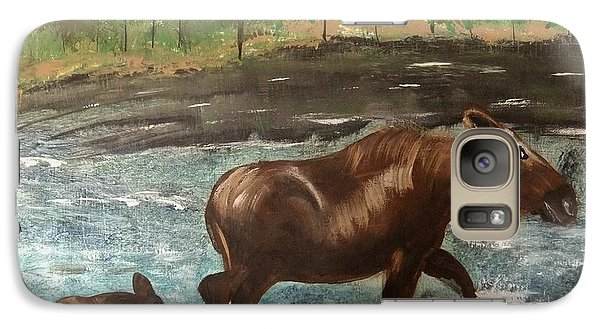 Galaxy Case featuring the painting Moose Crossing by Matthew Griswold