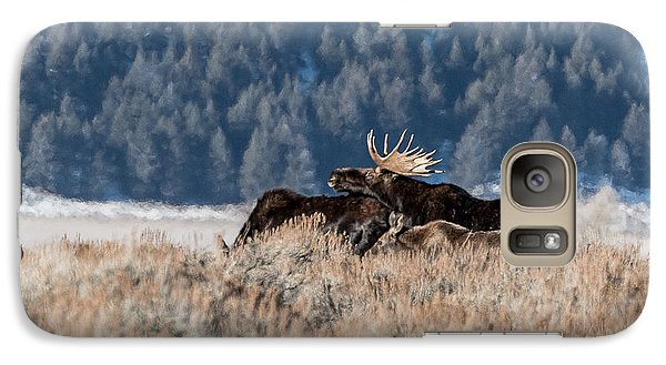 Galaxy Case featuring the photograph Moose Family Pride by Yeates Photography
