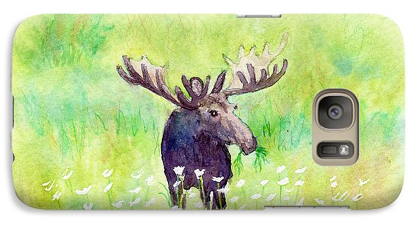 Galaxy Case featuring the painting Moose In Flowers by C Sitton
