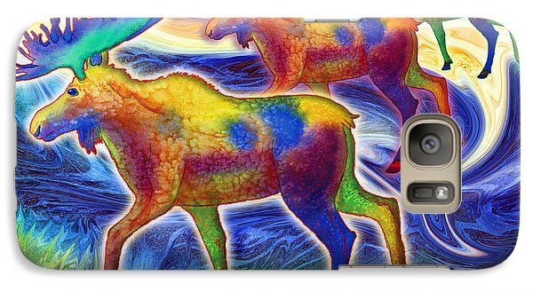 Galaxy Case featuring the mixed media Moose Mystique by Teresa Ascone