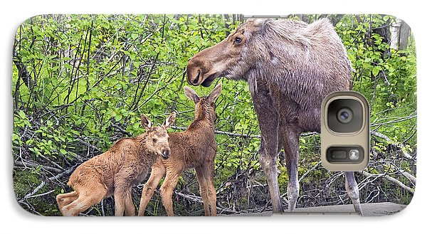 Galaxy Case featuring the photograph Moose With Twins by Stephen  Johnson