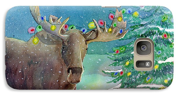 Galaxy Case featuring the painting Moosey Christmas by LeAnne Sowa