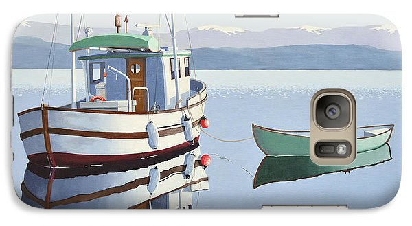 Galaxy Case featuring the painting Morning Calm-fishing Boat With Skiff by Gary Giacomelli