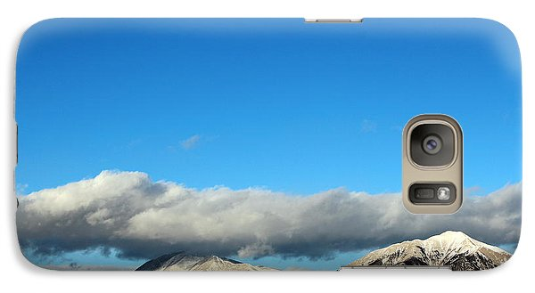 Galaxy Case featuring the photograph Morning Moon Over Spanish Peaks by Barbara Chichester