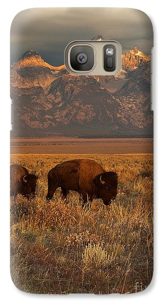 Buffalo Galaxy S7 Case - Morning Travels In Grand Teton by Sandra Bronstein
