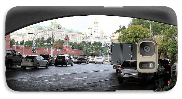 Moscow Kremlin Seen Through The Archway Of Greater Stone Bridge In Moscow I Galaxy Case by Anna Yurasovsky