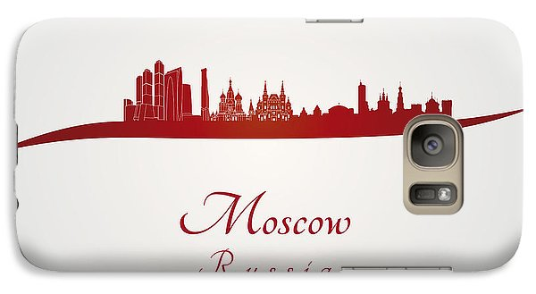 Moscow Skyline In Red Galaxy Case by Pablo Romero