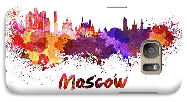 Moscow Skyline In Watercolor Galaxy Case by Pablo Romero