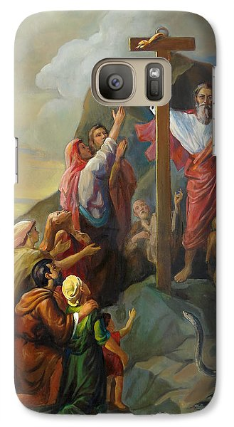 Galaxy Case featuring the painting Moses And The Brazen Serpent - Biblical Stories by Svitozar Nenyuk