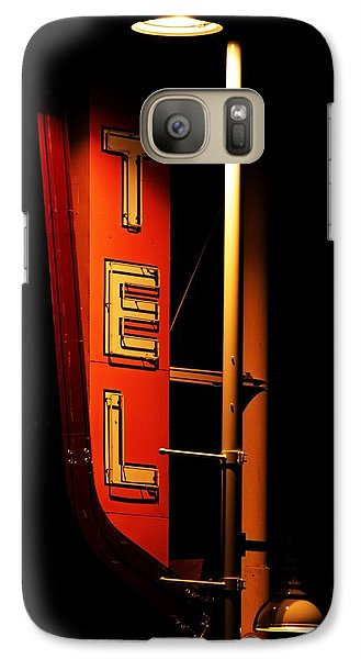 Galaxy Case featuring the photograph Motel Sign At Night by Daniel Woodrum