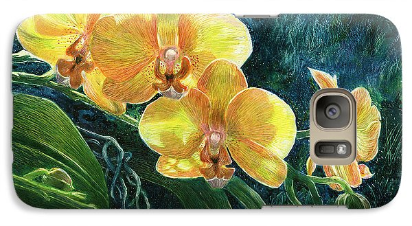 Galaxy Case featuring the drawing Moth Orchids by Sandra LaFaut
