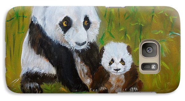 Galaxy Case featuring the painting Mother And Baby Panda by Jenny Lee