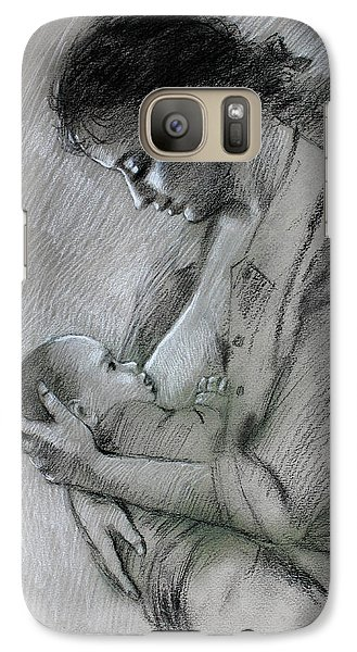 Galaxy Case featuring the drawing Mother And Baby by Viola El
