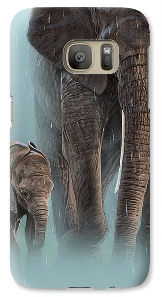 Elephant Galaxy S7 Case - Mother And Child by Aaron Blaise