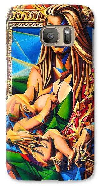Galaxy Case featuring the painting Mother And Child by Greg Skrtic