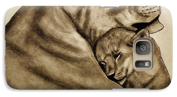 Galaxy Case featuring the drawing Mother And Son by Michael Cross