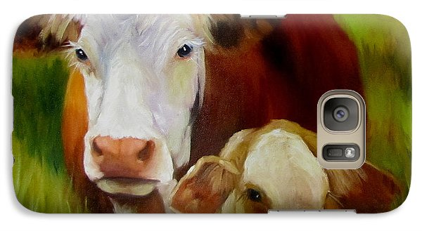 Galaxy Case featuring the painting Mother Cow And Baby Calf by Cheri Wollenberg