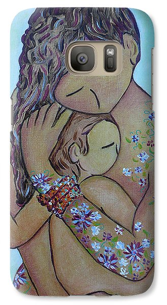 Galaxy Case featuring the painting Motherhood Flowers All Over by Gioia Albano