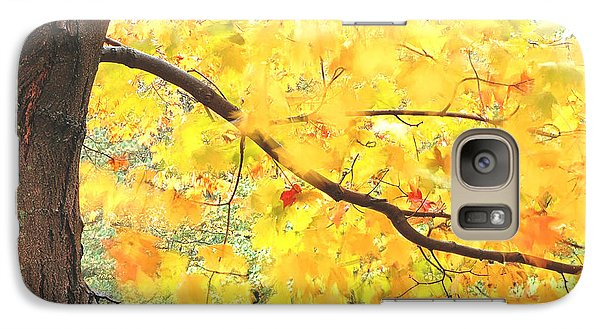 Galaxy Case featuring the photograph Motion Of Autumn Leaves On Tree by Gary Slawsky