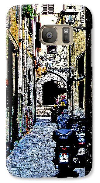 Galaxy Case featuring the digital art Motorcyle In Florence Alley by Jennie Breeze