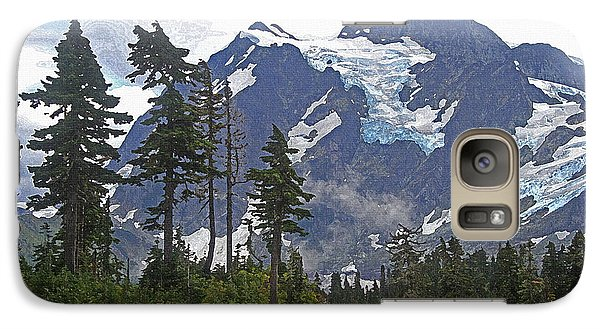 Galaxy Case featuring the photograph Mount Baker And Fir Trees And Glaciers And Fog by Tom Janca