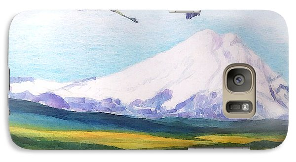 Galaxy Case featuring the painting Mount Elbrus Watching Blue Herons Fly Over Sunflower Fields by Anastasia Savage Ealy
