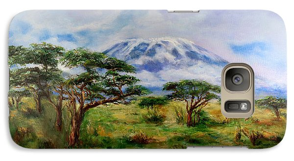 Galaxy Case featuring the painting Mount Kilimanjaro Tanzania by Sher Nasser