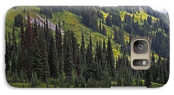 Galaxy Case featuring the photograph Mount Rainier Ridges And Fir Trees.. by Tom Janca