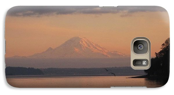 Galaxy Case featuring the photograph Mount Rainier Sunset by Karen Molenaar Terrell