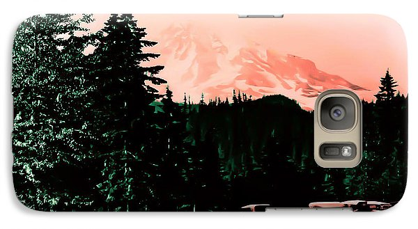 Galaxy Case featuring the photograph Mount Rainier With Vintage Cars Early 1900 Era... by Eddie Eastwood