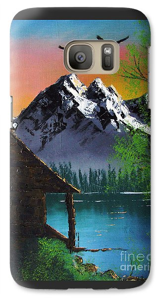 Galaxy Case featuring the painting Mountain Lake Cabin W Eagles by Marianne NANA Betts