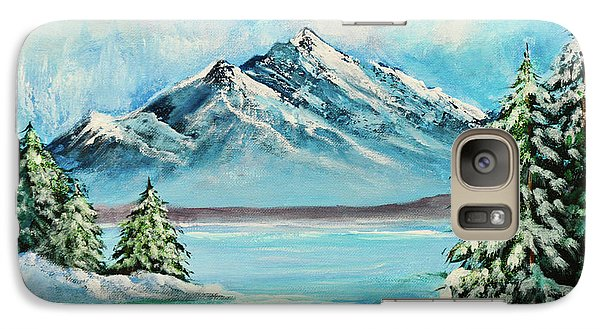 Galaxy Case featuring the painting Mountain Lake In Winter Original Painting Forsale by Bob and Nadine Johnston