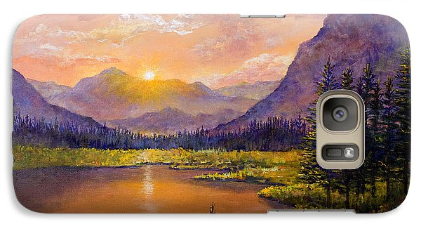 Galaxy Case featuring the painting Mountain Lake Sunset by Lou Ann Bagnall
