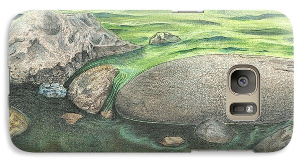 Galaxy Case featuring the drawing Mountain Stream by Troy Levesque