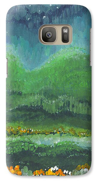 Galaxy Case featuring the painting Mountains At Night by Holly Carmichael