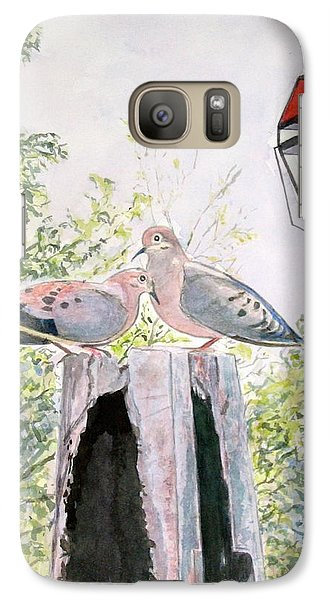 Galaxy Case featuring the painting Mourning Doves by Carol Flagg
