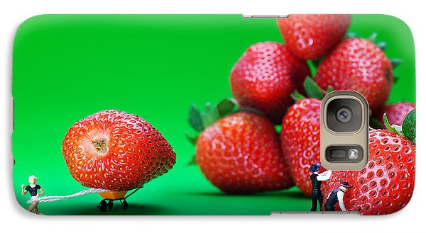 Galaxy Case featuring the photograph Moving Strawberries To Depict Friction Food Physics by Paul Ge