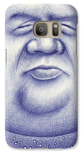 Galaxy Case featuring the drawing Mr. Moon by Cristophers Dream Artistry